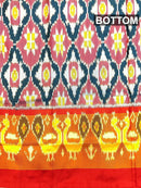Pure ikat silk pavadai sattai material dual shade of blue and red with ikat weaves and zari border for 3 to 7 years