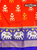Pure ikat silk pavadai sattai material orange and blue with ikat weaves and zari border for 3 to 7 years for Rs.Rs. 5090.00 | Kid's Paavadai Sattai by Prashanti Sarees