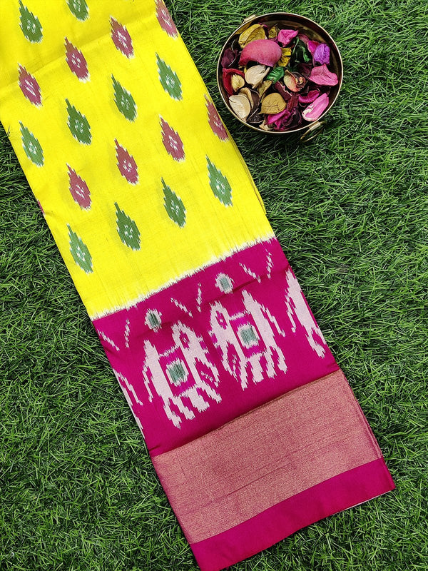 Pure ikat silk pavadai sattai material lime yellow and pink with ikat weaves and zari border for 3 to 7 years