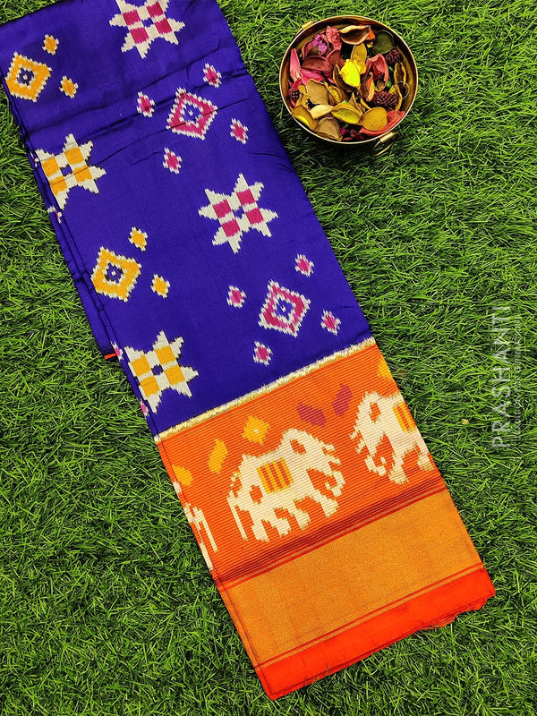 Pure ikat silk pavadai sattai material blue and orange with ikat weaves and zari border for 3 to 7 years