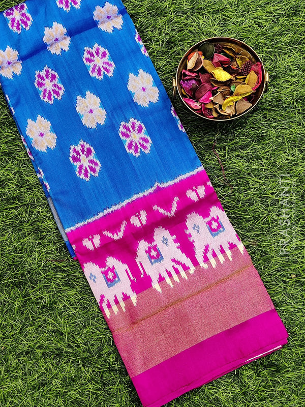 Pure ikat silk pavadai sattai material blue and pink with ikat weaves and zari border for 3 to 7 years
