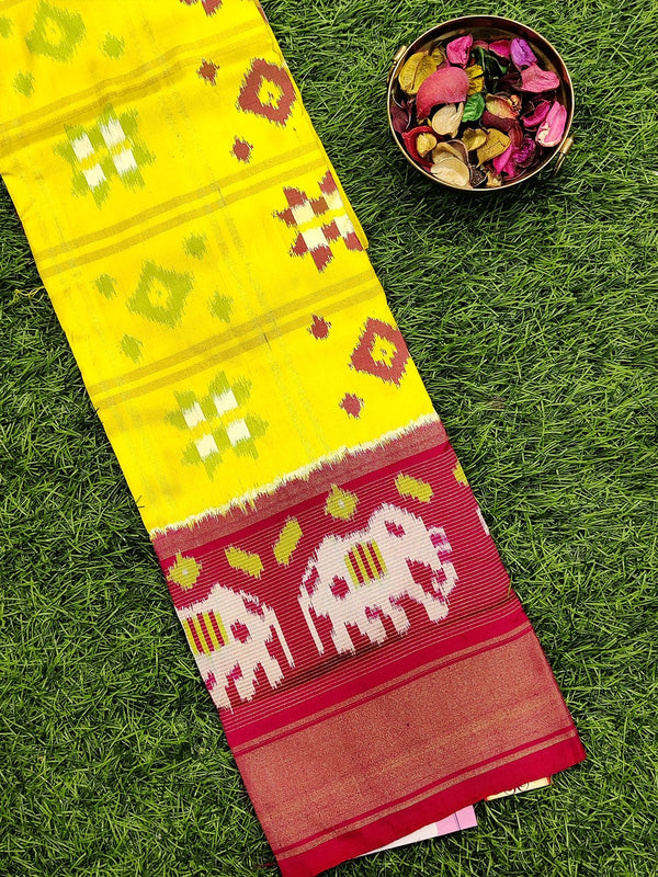Pure ikat silk pavadai sattai material lime yellow and reddish pink with ikat weaves and zari border for 3 to 7 years