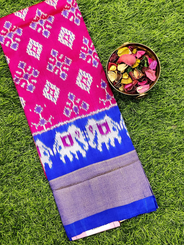 Pure ikat silk pavadai sattai material pink and blue with ikat weaves and zari border for 3 to 7 years