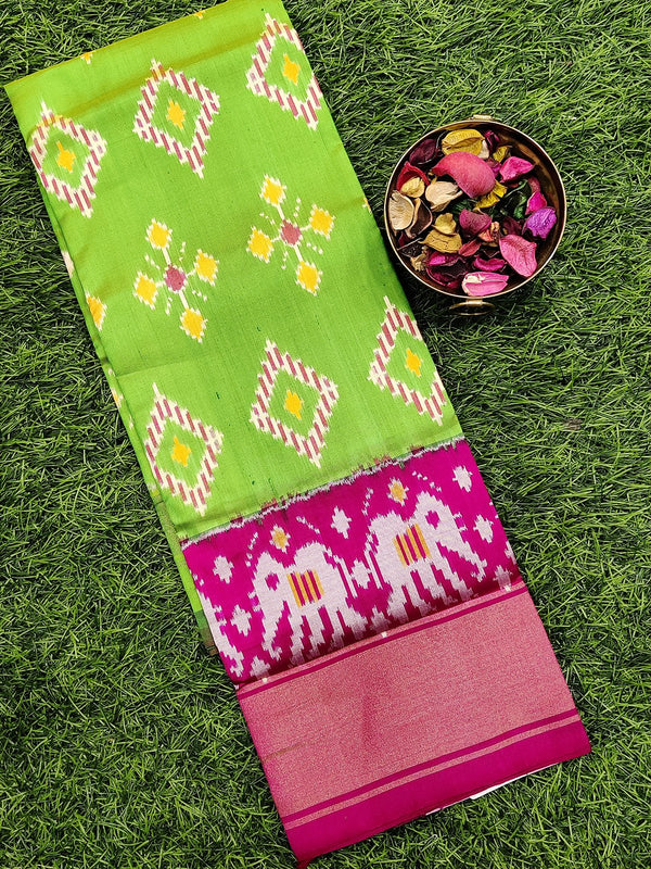 Pure ikat silk pavadai sattai material green and pink with ikat weaves and zari border for 3 to 7 years