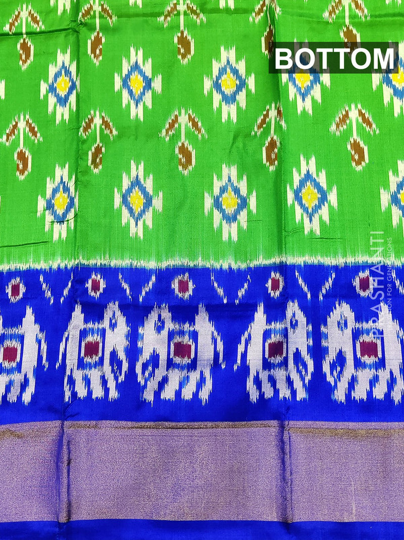 Pure ikat silk pavadai sattai material green and blue with ikat weaves and zari border for 3 to 7 years