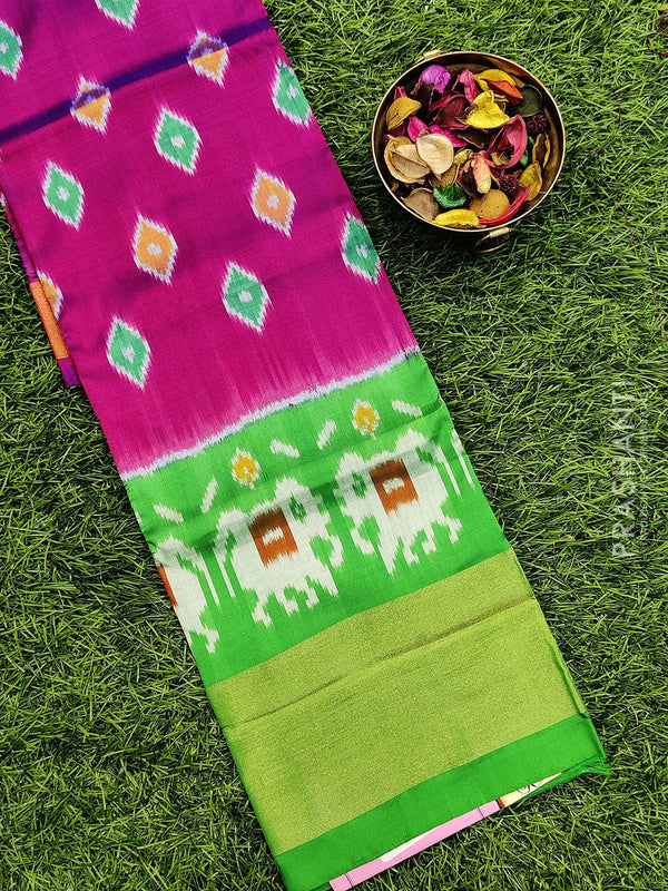 Pure ikat silk pavadai sattai material dual shade of purple and green with ikat weaves and zari border for 3 to 7 years