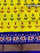 Pure ikat silk pavadai sattai material lime yellow and blue with ikat weaves and zari border for 3 to 7 years