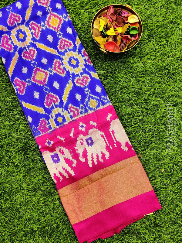Pure ikat silk pavadai sattai material blue and pink with ikat weaves and zari border for 3 to 7 years for Rs.Rs. 5090.00 | Kid's Paavadai Sattai by Prashanti Sarees