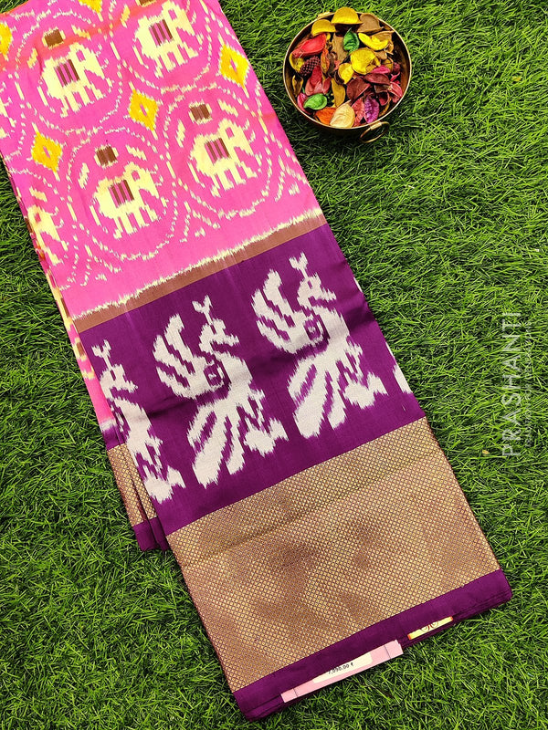 Pure ikat silk pavadai sattai material light pink and purple with ikat weaves and zari border for free size