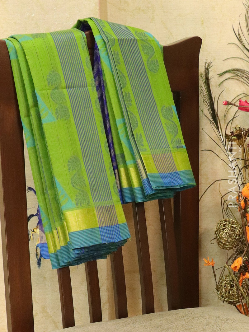 Light Weight Silk Cotton Saree green and blue with allover thread weaves and rich pallu