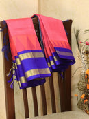 Light Weight Silk Cotton Saree pink and blue with allover thread weaves and rich pallu