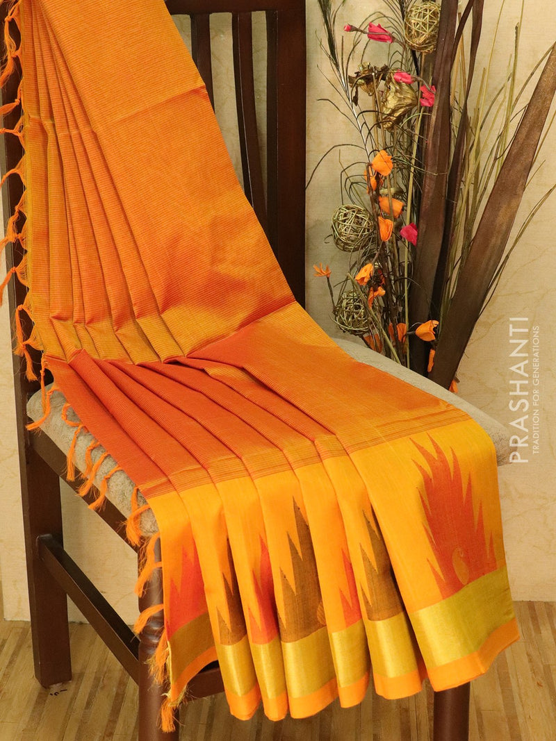 Light Weight Silk Cotton Saree mustard yellow with allover thread weaves and rich pallu