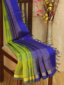 Light Weight Silk Cotton Saree light green and blue with allover thread weaves and rich pallu