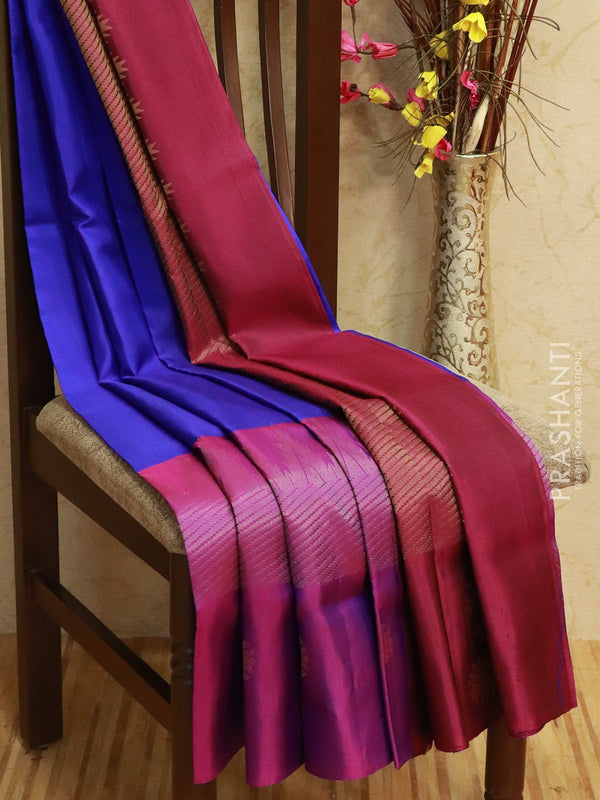 Pure Soft silk saree blue and dual shade of purple with rich zari woven floral temple border