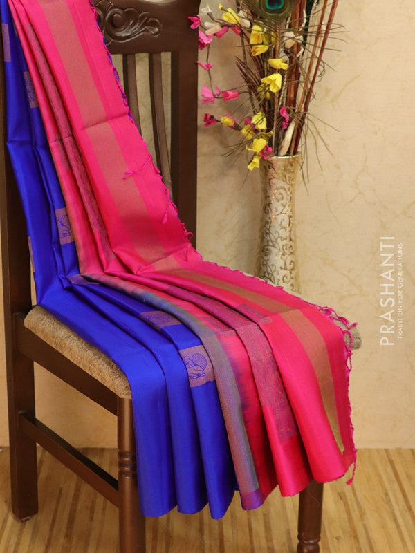 Pure Soft silk saree blue and pink with box buttas in borderless style
