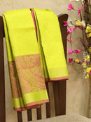 Pure Soft silk saree yellow and pink with allover zari weaves and zari woven border