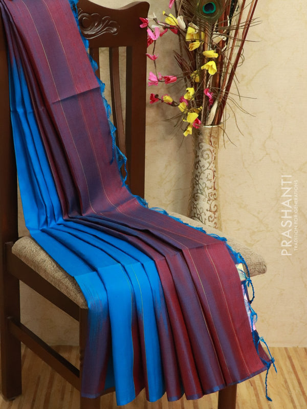 Pure Soft silk saree cs blue and dual shade of maroon with borderless style in jute finish