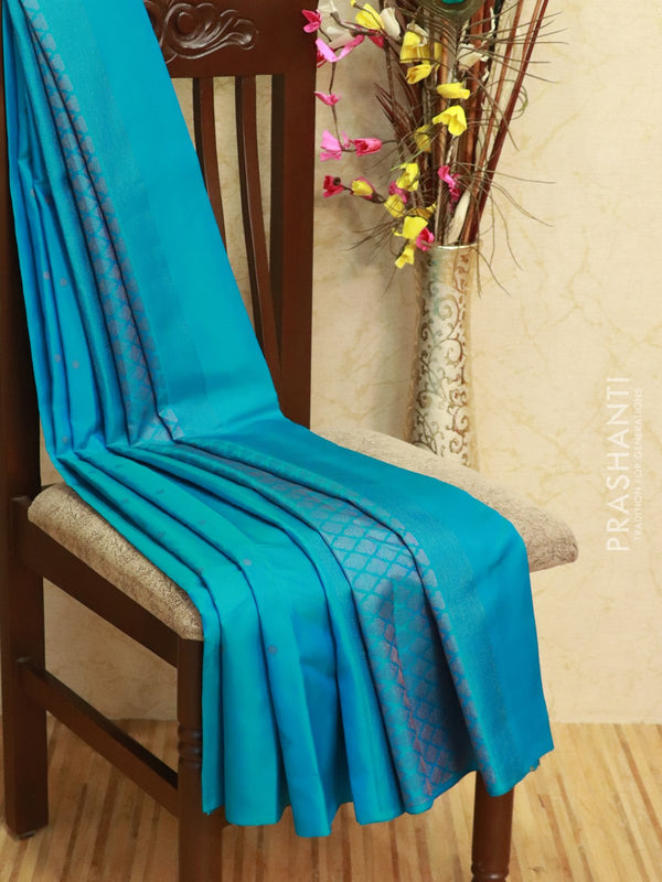 Pure Soft silk saree blue with zari and thread woven buttas in borderless style