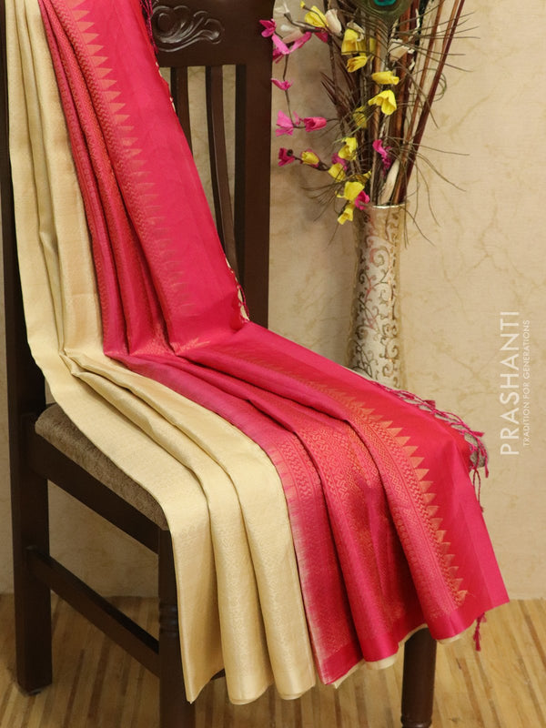 Pure Soft silk saree cream and pink with all over zari weaves in borderless style