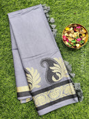 Semi silk bhagalpuri saree greyish blue with zari and thread woven simple border