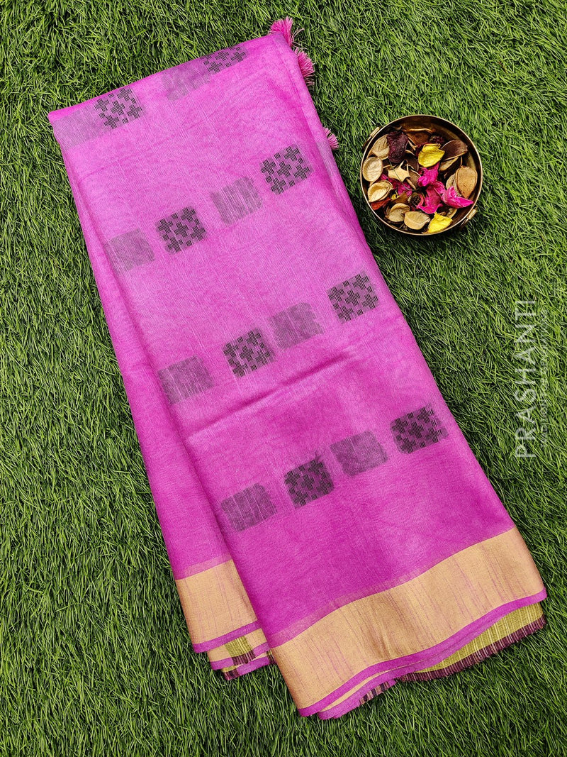 Semi silk bhagalpuri saree pink and beige with thread woven butta and border