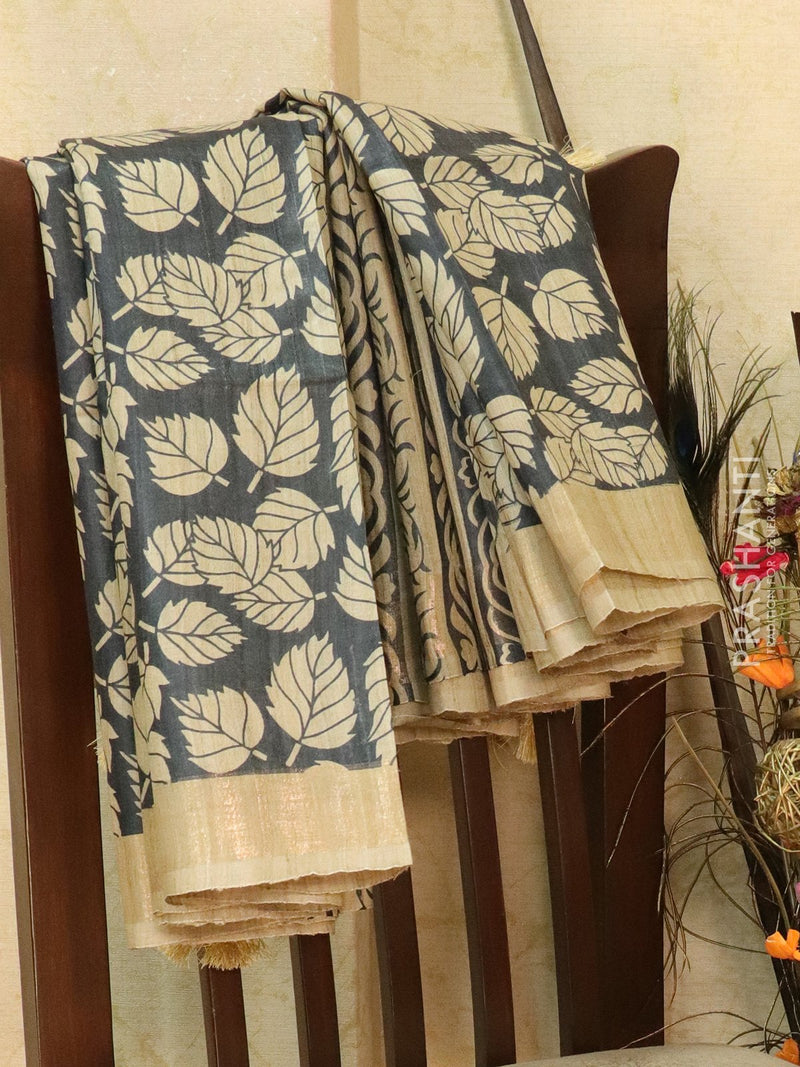 Pure tussar silk saree beige and black with allover screen prints and simple border