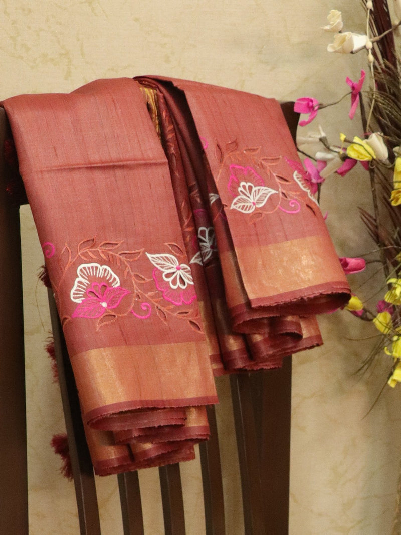 Pure tussar silk saree rustic maroon with cut work and golden zari border