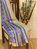 Pure tussar silk saree blue and beige with allover screen prints and simple border