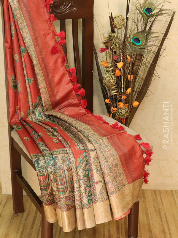Pure tussar silk saree red and beige with allover screen prints and simple border