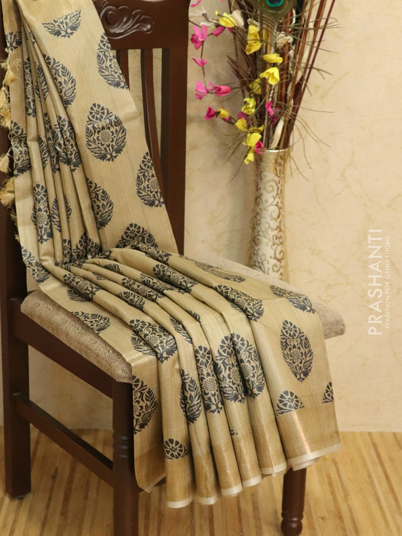 Pure tussar silk saree beige and black with allover screen prints and simple border for Rs.Rs. 5650.00 | Silk Sarees by Prashanti Sarees