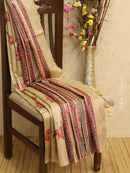 Pure tussar silk saree beige red and black with allover screen prints and simple border