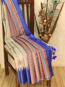 Pure tussar silk saree beige and blue with allover screen prints and simple border