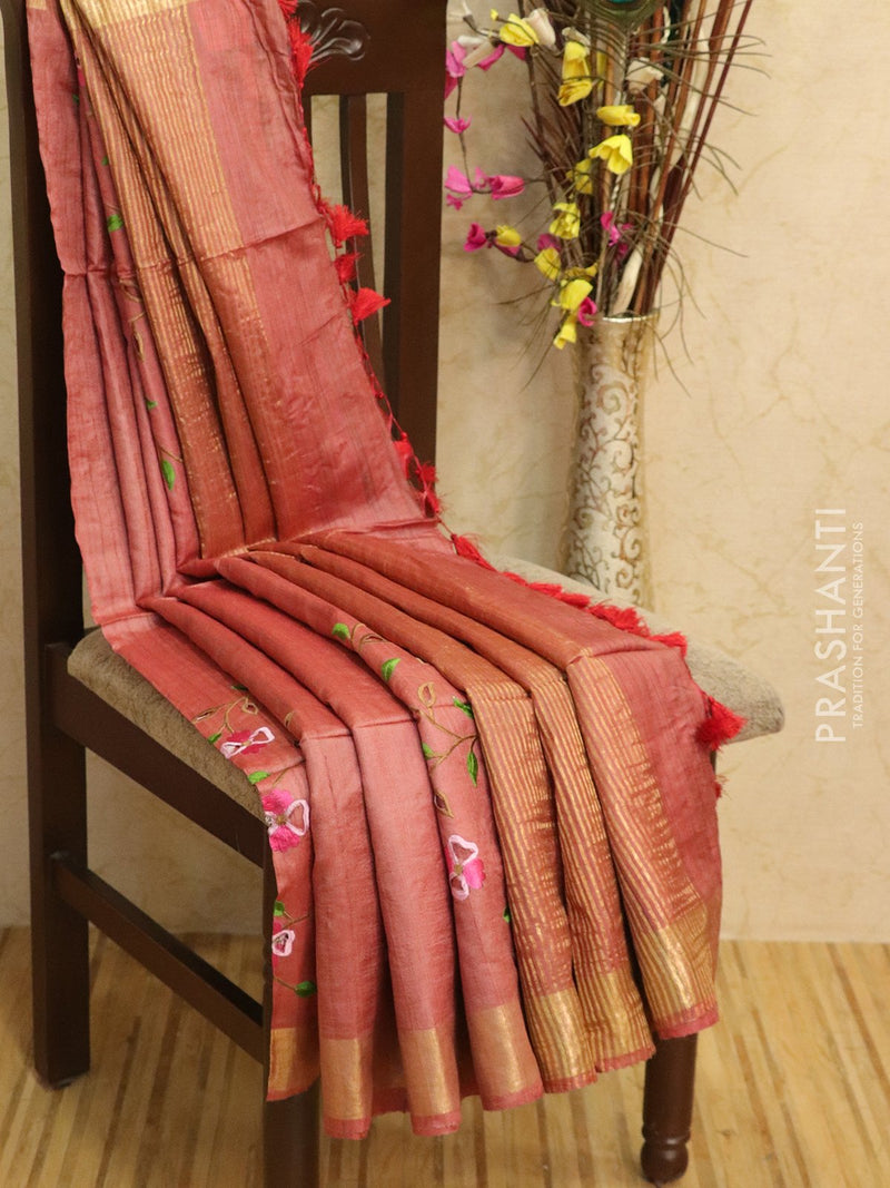 Pure tussar silk saree red with cut work and golden zari border