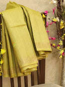 Pure tussar silk saree mustard yellow with cut work and simple border