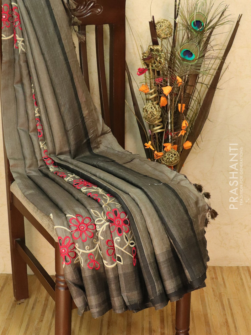 Pure tussar silk saree grey and black with cut work and simple border