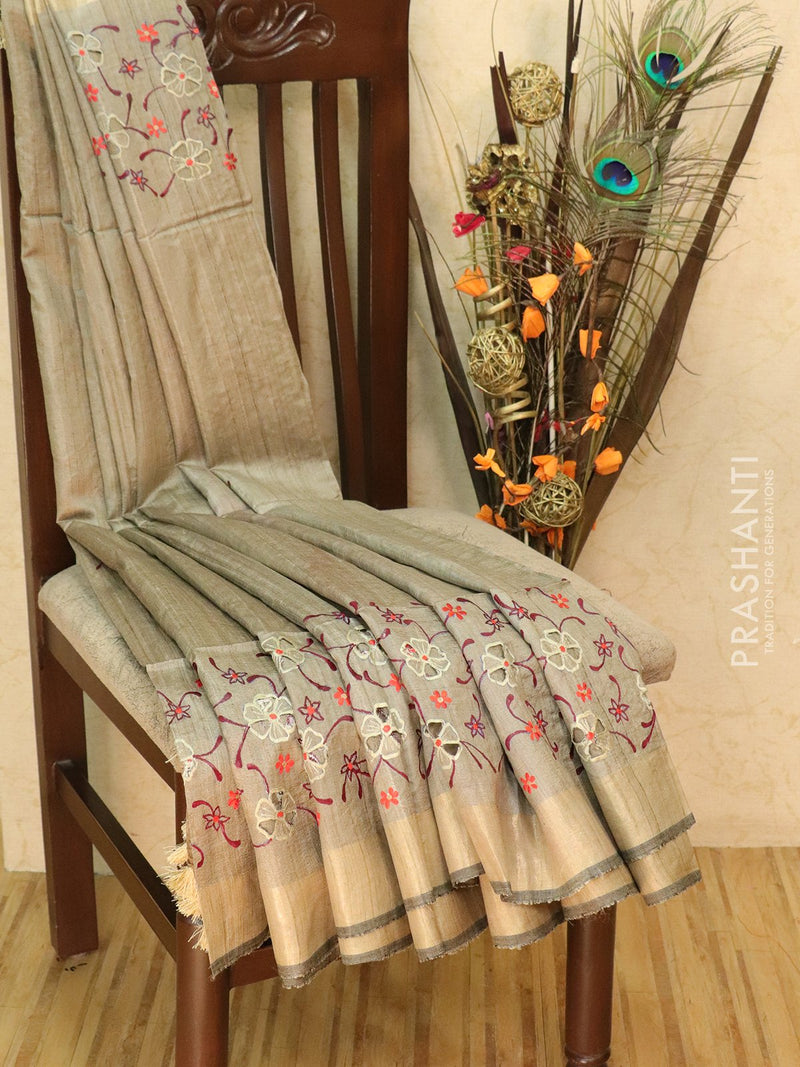 Pure tussar silk saree grey and red with cut work and golden zari border