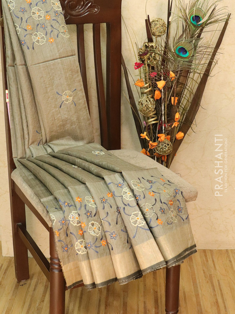 Pure tussar silk saree grey and blue with cut work and golden zari border