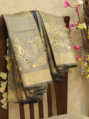Pure tussar silk saree beige and blue with cut work and golden zari border