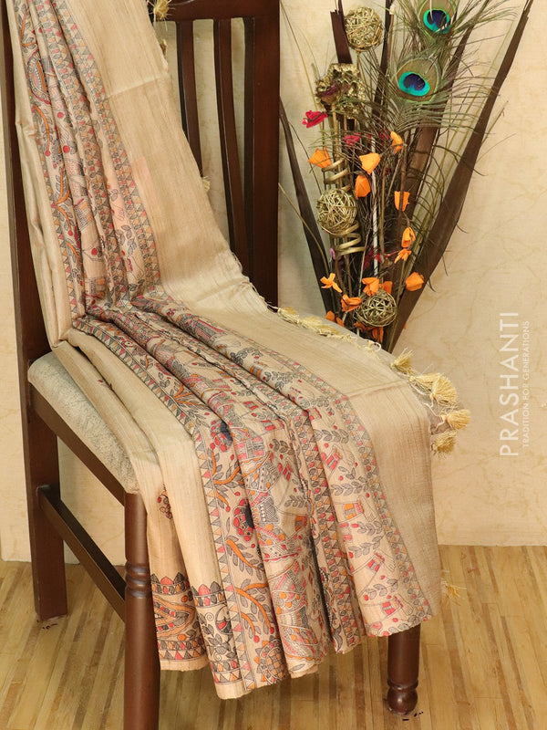 Pure tussar silk saree beige with allover screen prints and simple border
