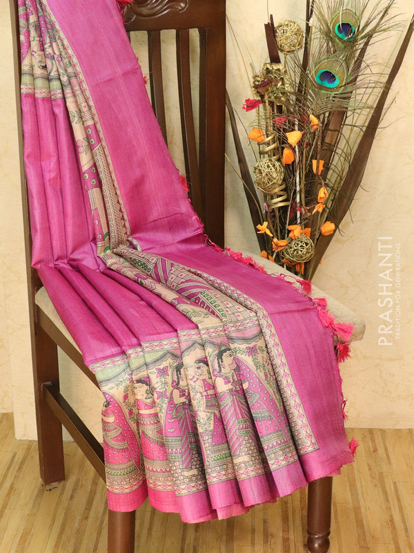 Pure tussar silk saree pink and beige with allover screen prints and simple border