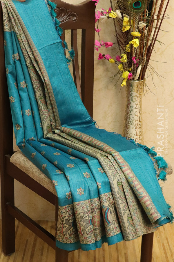 Pure tussar silk saree peacock blue with allover screen prints and simple border