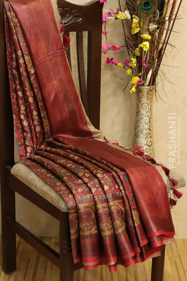 Pure tussar silk saree maroon and beige with allover digital prints and simple border