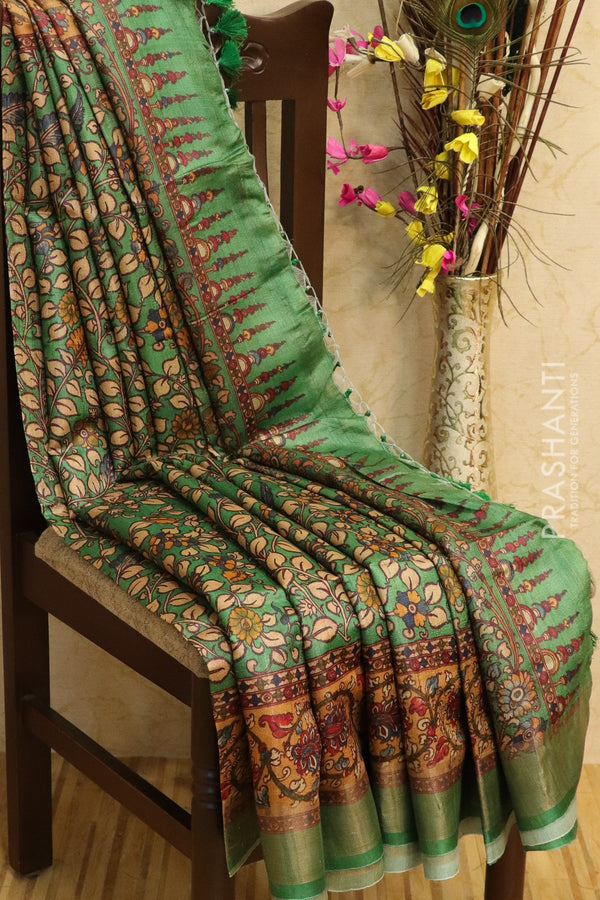 Pure tussar silk saree green with allover digital prints and simple border