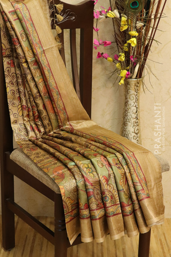 Pure tussar silk saree beige with allover digital prints and simple border