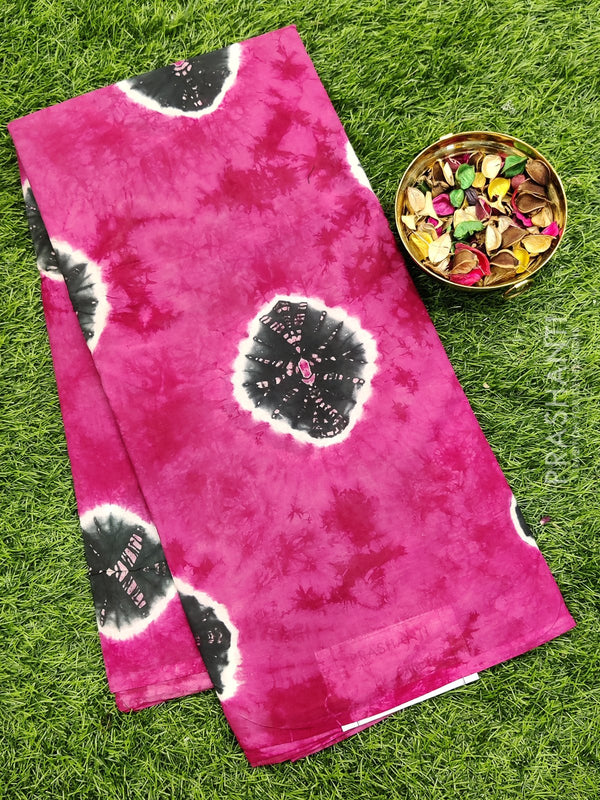 Jaipur cotton saree pink and grey tie and dye batik prints