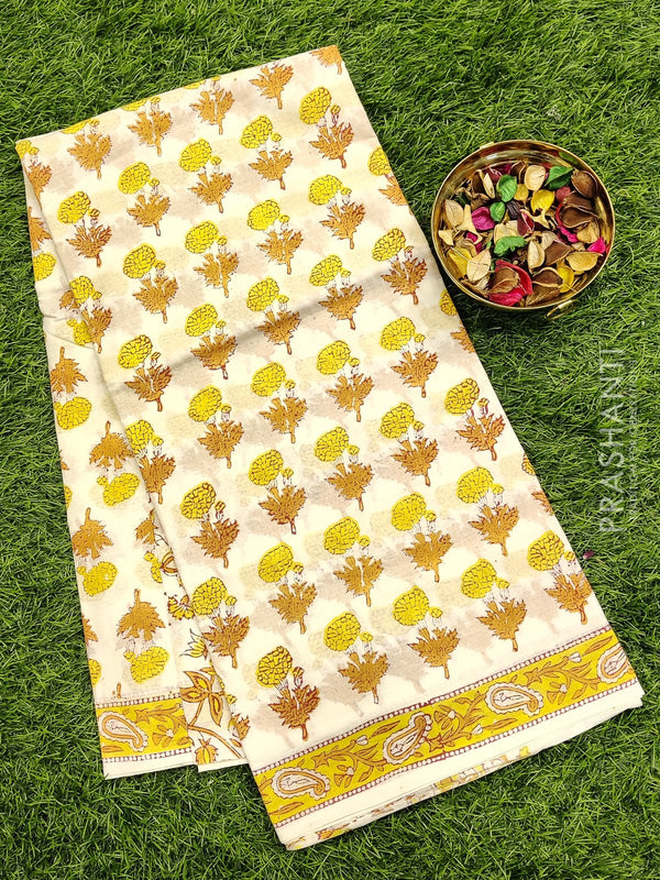 Jaipur cotton saree off white and yellow with all over floral prints