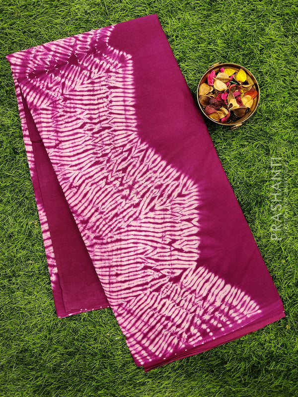 Jaipur cotton saree magenta with tie and dye and shibori prints