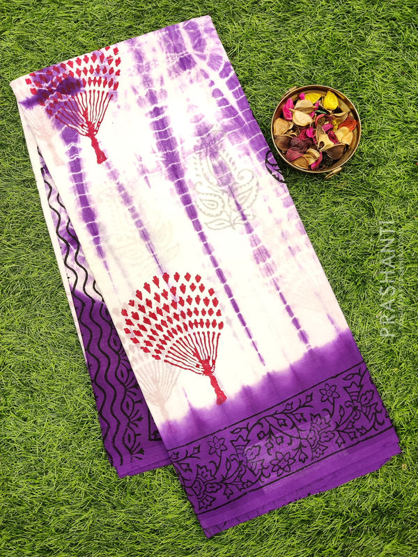 Jaipur cotton saree white and violet with all over prints for Rs.Rs. 895.00 | Cotton Sarees by Prashanti Sarees