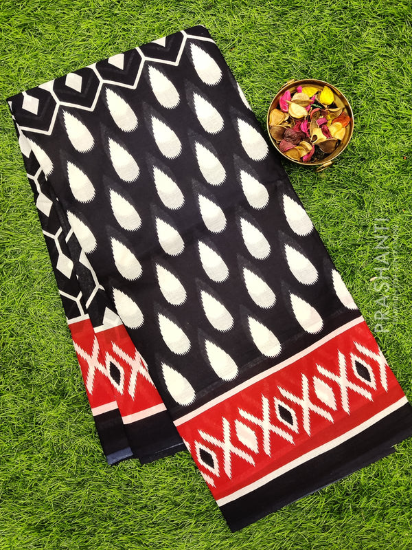 Jaipur cotton saree black with all over prints