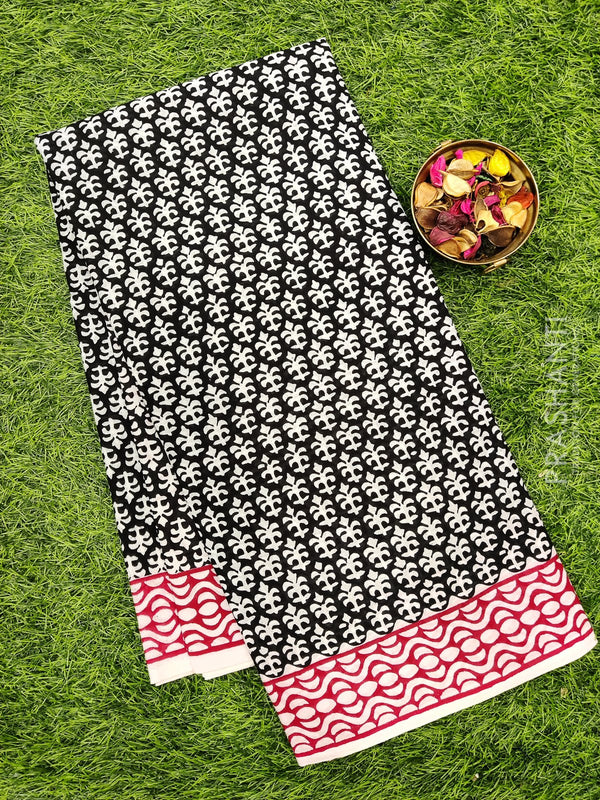 Jaipur cotton saree black and white with all over prints